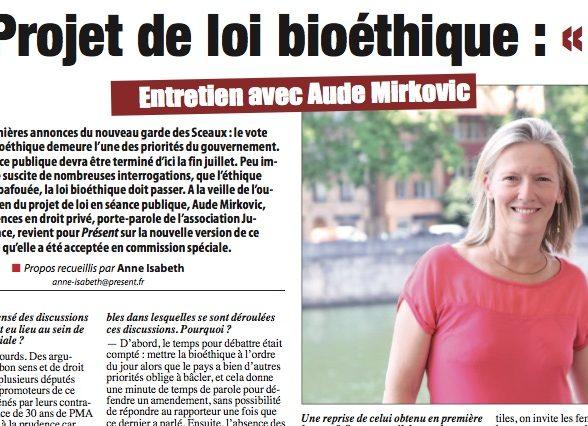 PJL bioéthique: entretien avec Aude Mirkovic